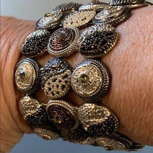 Wide Beautiful three row stretch bracelet.  NWT